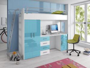 Hochbett Mit Kleiderschrank Und Schreibtisch nicki - hochbett, kleiderschrank und schreibtisch mit hochglanz