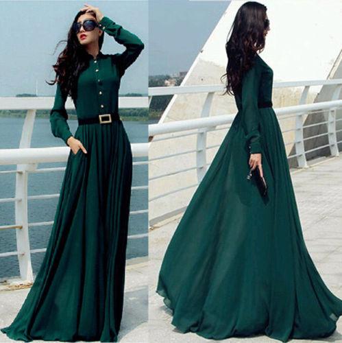 Vintage Kaftan Abaya Islamisch Muslim Cocktail Damen Langärmlig Lang Maxi Kleid