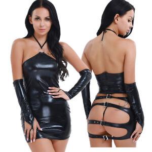 Sexy-Women-Leather-Open-Butt-Mini-Pencil-Dress-Slim-Bodycon-Lingerie-Clubwear