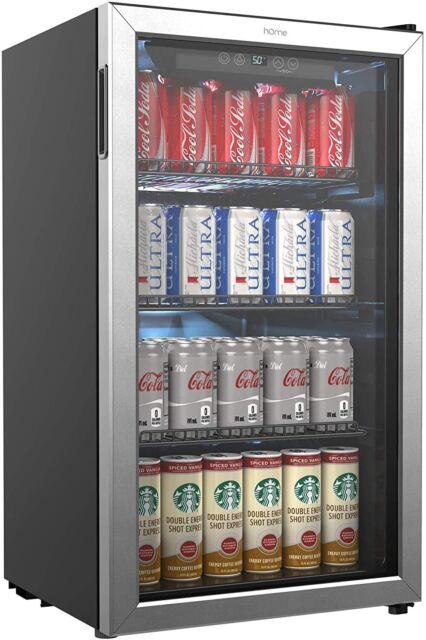hOmeLabs Beverage Refrigerator and Cooler - 120 Can Mini Fridge with Glass Door
