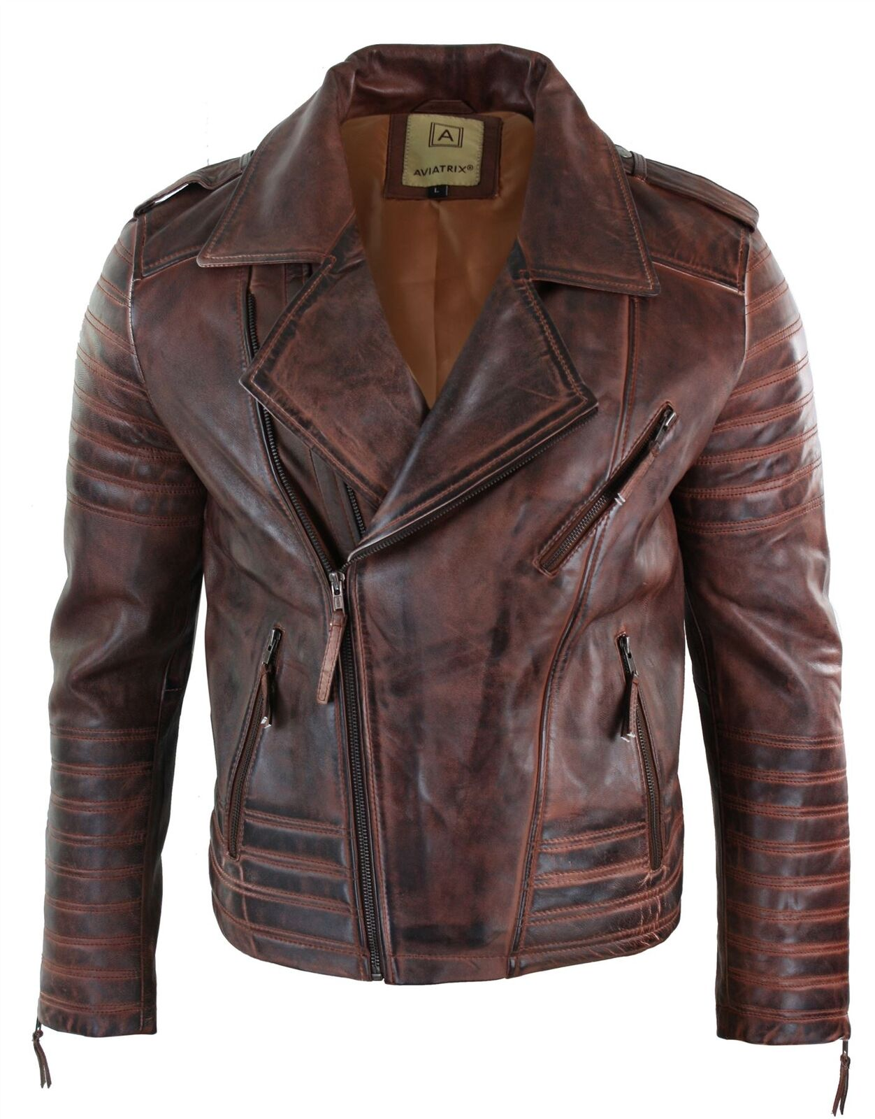 Veste vintage Herren fermeture zip diagonale vintage Veste rétro biker cuir véritable braun dc4a17