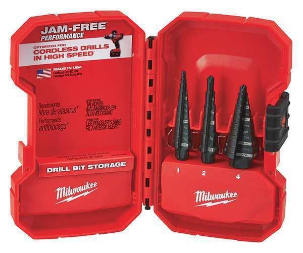 MILWAUKEE 48-89-9221 HSS Step Drill Bit Set 1 8-7 8 , 3 pcs