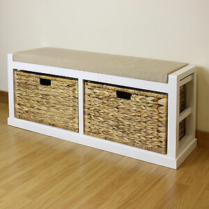 White Twin Seat Hallway Home Shoe Storage Bench Foam Wicker Cushion 2 Baskets Ebay