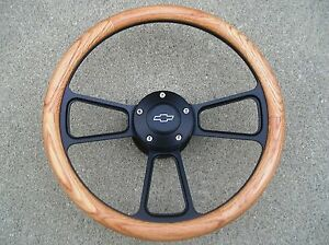 1966-Chevy-Chevelle-El-Camino-Real-Oak-amp-Billet-Steering-Wheel-Horn-Kit