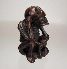 "19th Century. Japanese Wood Netsuke: GASHADOKURO ""Starving Skeleton"""