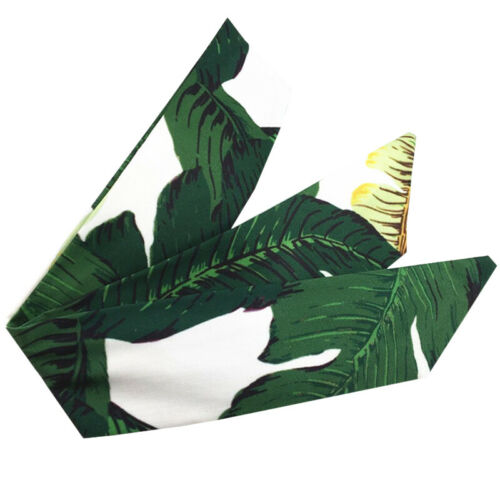 Women/'s Leaf Floral Printed Wire Knot Pattern Headband Head Wrap Scarf Hairband