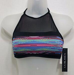 La Blanca Swim Bandeau Bikini Top Sz 6 Black//Multi i20