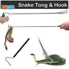 "47"" Heavy Duty Snake Tongs Reptile Grabber Wide Jaw Catcher + 39"" Snake Hook"
