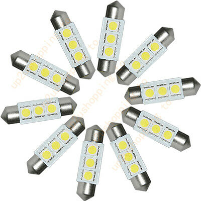 10 x White 36MM 3 LED 5050 SMD Festoon Dome Car Light Interior Lamp Bulb 12V New