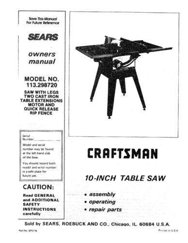 Sears Craftsman  Table Saw Manual Model # 113.298750