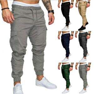 8d16e67ad833a1 New Men's Slim Fit Urban Straight Leg Trousers Casual Pencil Jogger ...