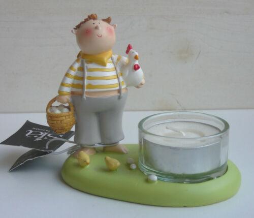 Sia Home Fashion Teelichthalter Junge mit Huhn ♥ Ostern Teelicht