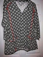 3x Onque Womens Black White Women's Print Cardigan Jacket