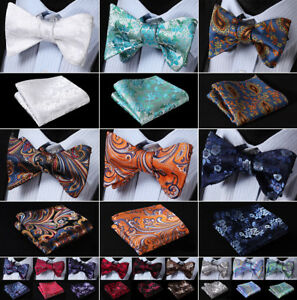 Mens-Silk-Floral-Paisley-Self-Bow-Tie-Jacquared-Bow-Ties-Handkerchief-Set-J01