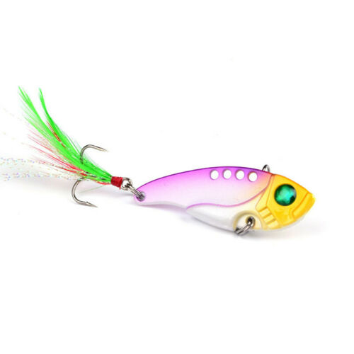 8pcs Metal Fishing Lure Bass Crankbait Spoon Spinners Bait with Feather Hook 6#