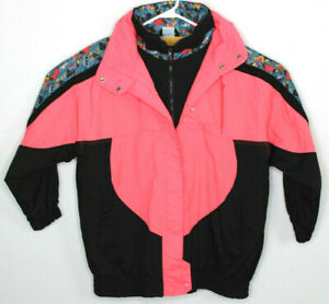 Vtg 80s Climate Zone Womens Pink Black Color Block Geometric Puffer Jacket Sz M