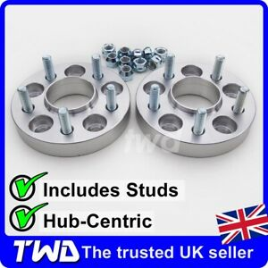 25MM-HUB-CENTRIC-ALLOY-WHEEL-SPACERS-FOR-FORD-5X108-PCD-63-4MM-BORE-NUT-2LX