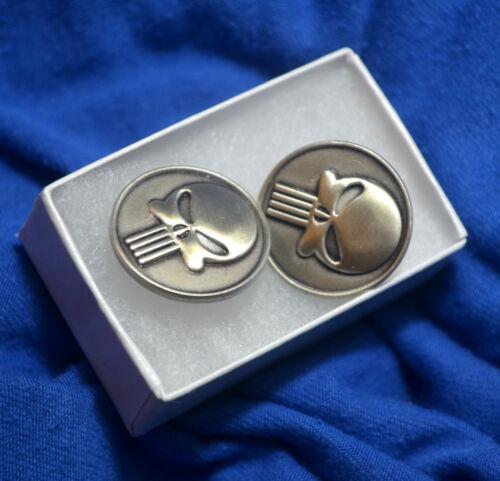 """MEDALLION 3//4/"""" PIN for 1911 GRIPS Silver PUNISHER SKULL EMBLEM PUNISHER SKULL"""