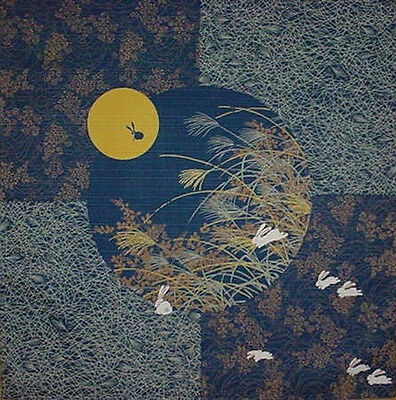 Furoshiki Japanese Fabric Navy 'Rabbit in the Moon' Motif Cotton 50cm