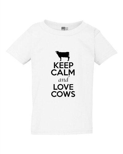 Keep Calm And Love Cows Milk Farm Animal Lover Toddler Kids T-Shirt Tee