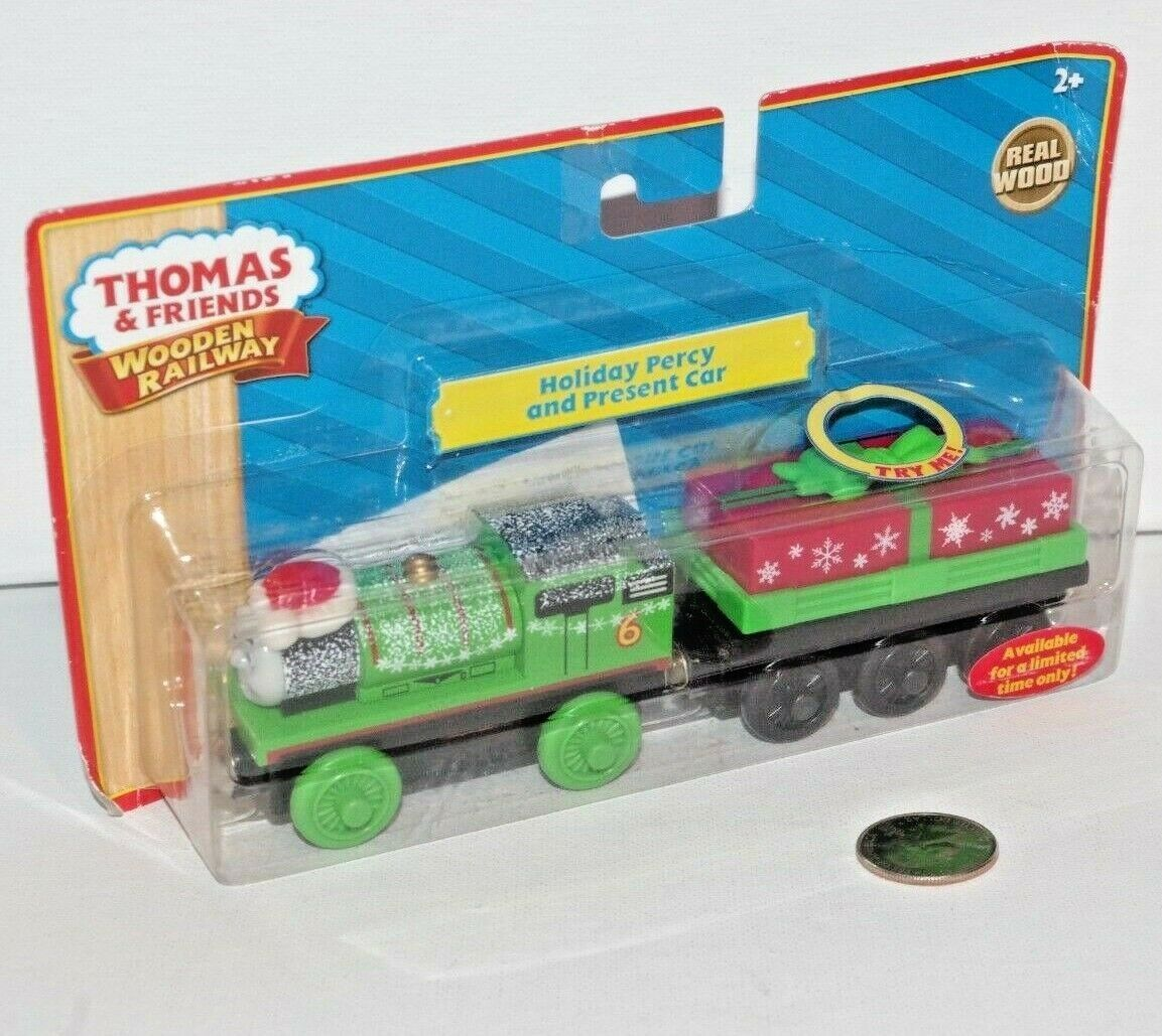Thomas Friends Wooden Railway Train Tank Engine Holiday Percy & Present Car NEW