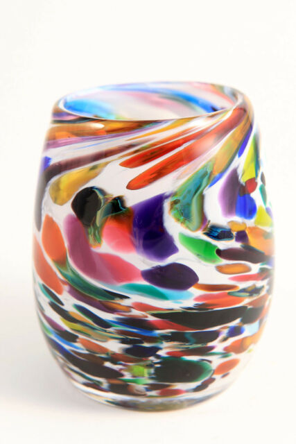 Dehanna Jones PNW Hand Blown Art Glass Votive Candle Holder Multi Color Seattle