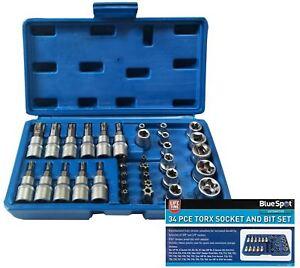 BlueSpot-34pc-Torx-Star-Socket-Bit-Set-Male-amp-Female-Sockets-1-4-034-amp-3-8-034-Drive