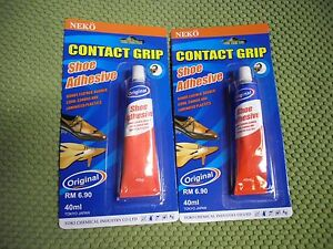 2 x 40ml shoe adhesive glue for leather vinyl rubber cork