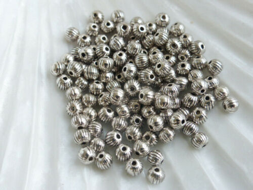 MB72 100 x 4mm Round Fluted Pumpkin Spacer Beads Antique Silver Beads  LF
