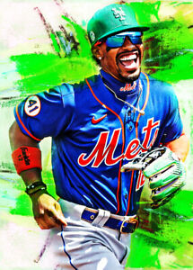2021 Francisco Lindor New York Mets 3/25 Art ACEO Sketch Print Card By:Q