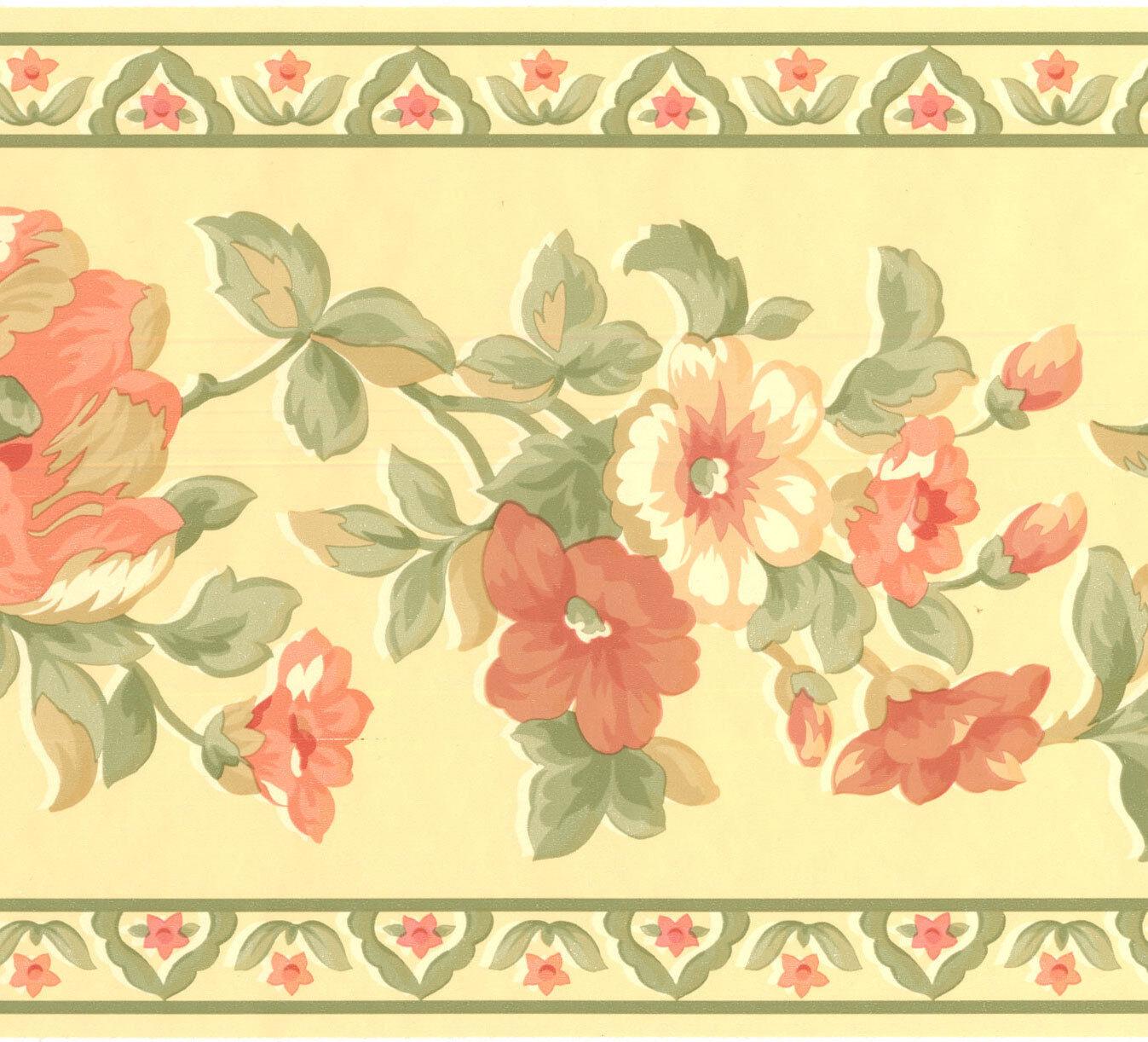 Pretty Tan Peach Apricot Flowers Floral Wallpaper Wall Border