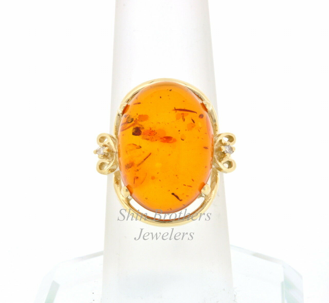 14K Yellow gold Amber & Diamond Ring