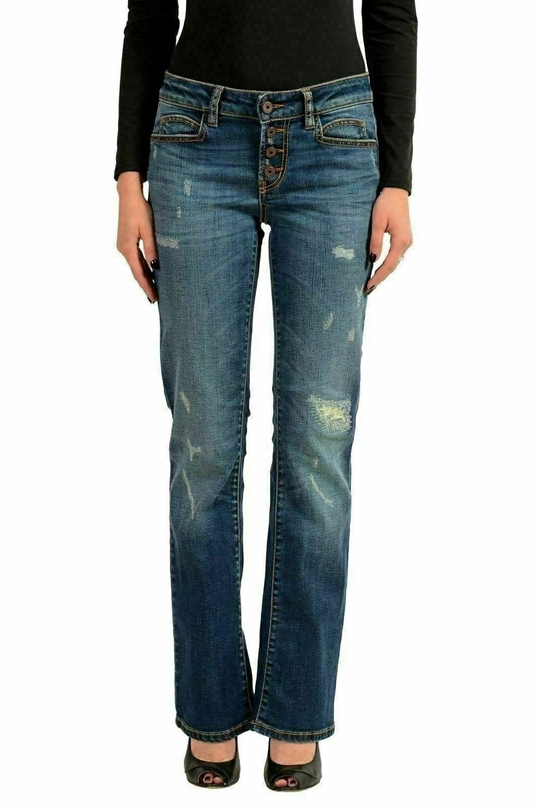 Just Cavalli Women's bluee Ripped Designed Straight Leg Jeans US 26 IT 40