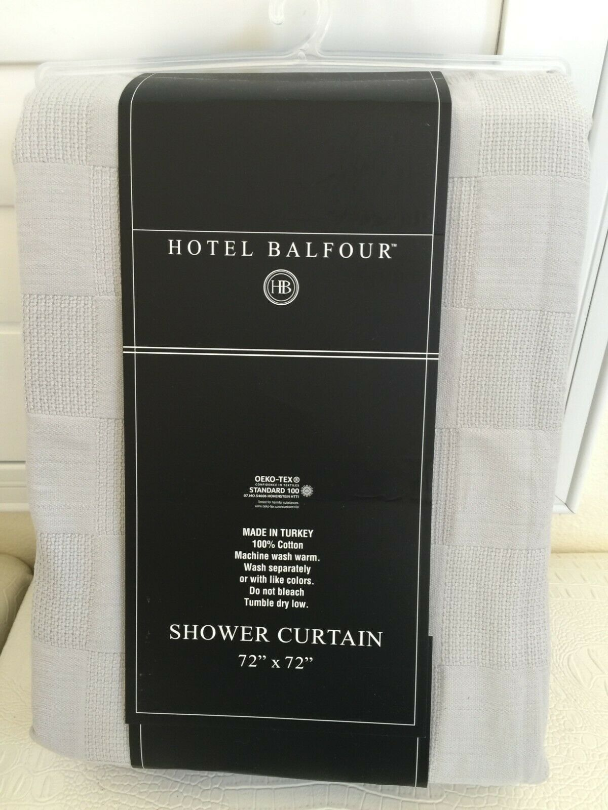 Hotel Balfour Shower Curtain Luxury Turkey 100 Cotton Checker Gray 72x72 New