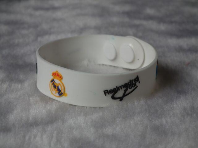 kiTki 215mm white Real Madrid football soccer bangle wristband wristlet bracelet