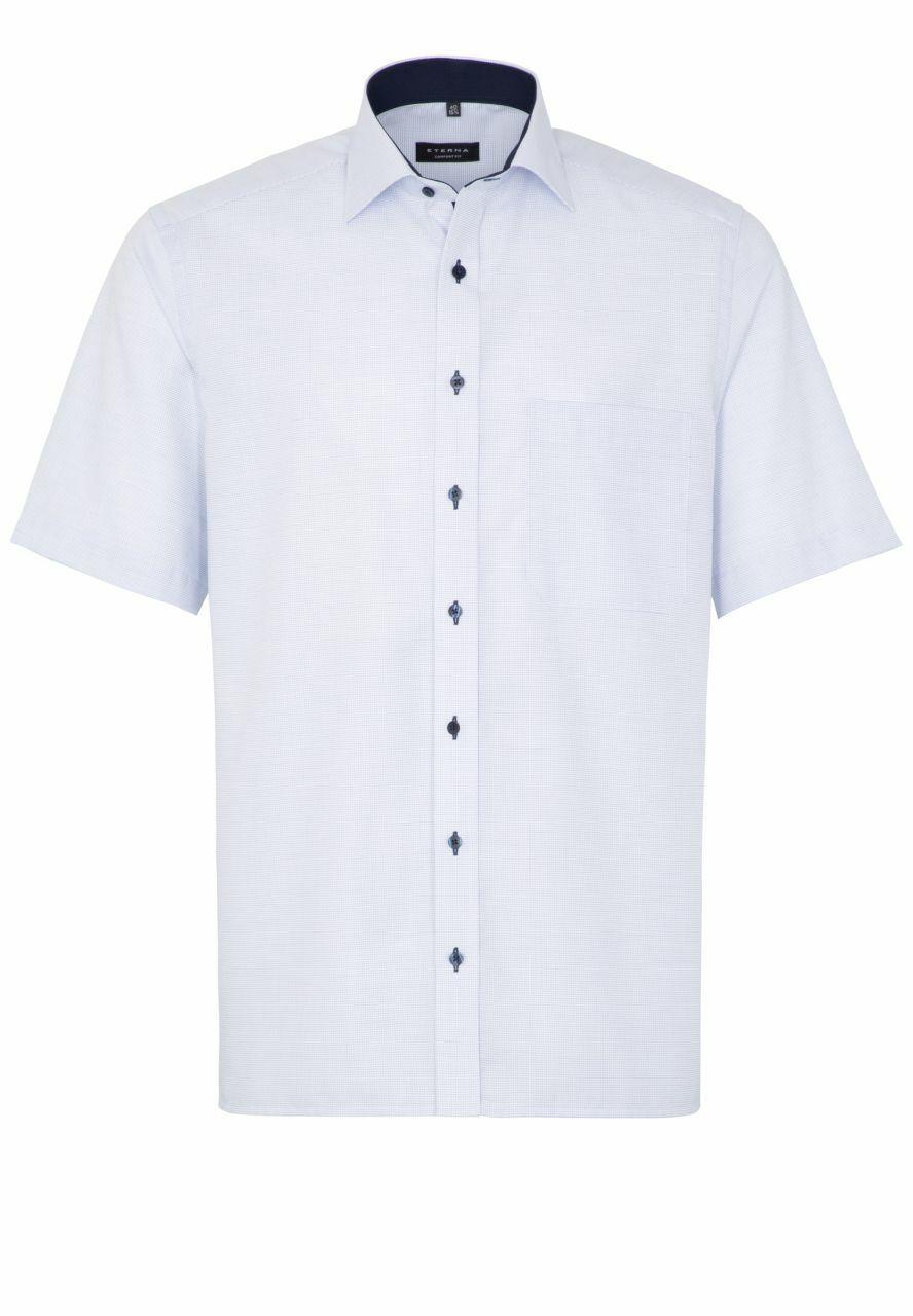 Eterna-Comfort Fit-Cintres libre Messieurs Manches Courtes Chemise en Bleu, (4671 k147)