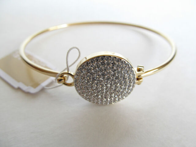 21dc81f8881 Michael Kors Gold-tone Bangle Bracelet with Czech Crystals Charm Disc  MKJ3891710
