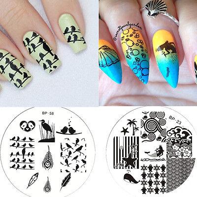 2Stk Nagel Schablone Nail Art Stamp Stamping Plates Image Templates BORN PRETTY