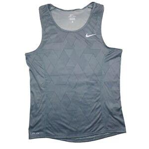 NIKE Dri-Fit Womens Miler Running Tank Top Gray Size Small
