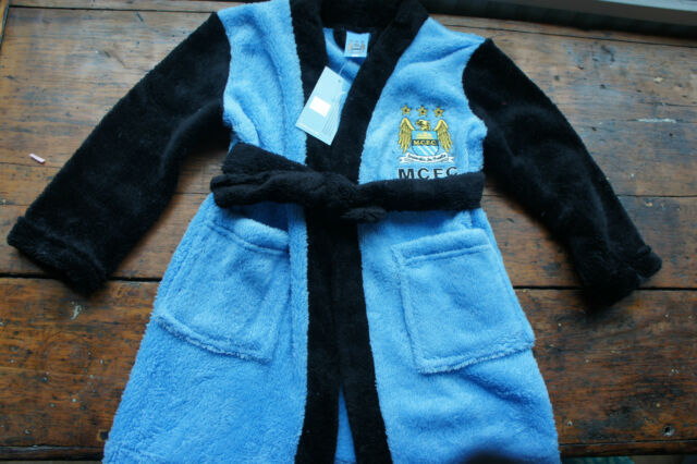 Manchester City FC MCFC Official Fluffy Dressing Gown Bath Robe Age 2-3 BNWT