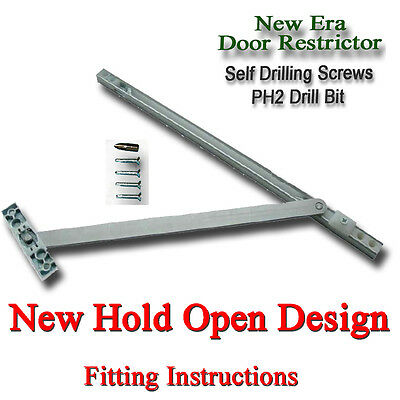 DOOR RESTRICTOR 90 to 130 DEGREE UPVC ARM STAY HOLD OPEN DOUBLE FRENCH PATIO