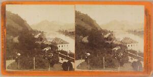 Germania Bord Del Reno Foto Stereo P8L1n Vintage Albumina Ca 1865