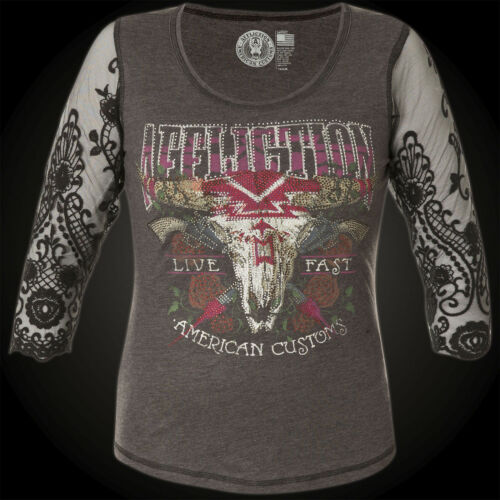 nero Sweater Grigio Rustler Affliction Woman U46Tw4gq