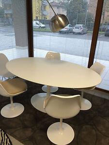 Tavolo tulip design eero saarinen ovale laminato bianco o - Tavolo ovale design ...