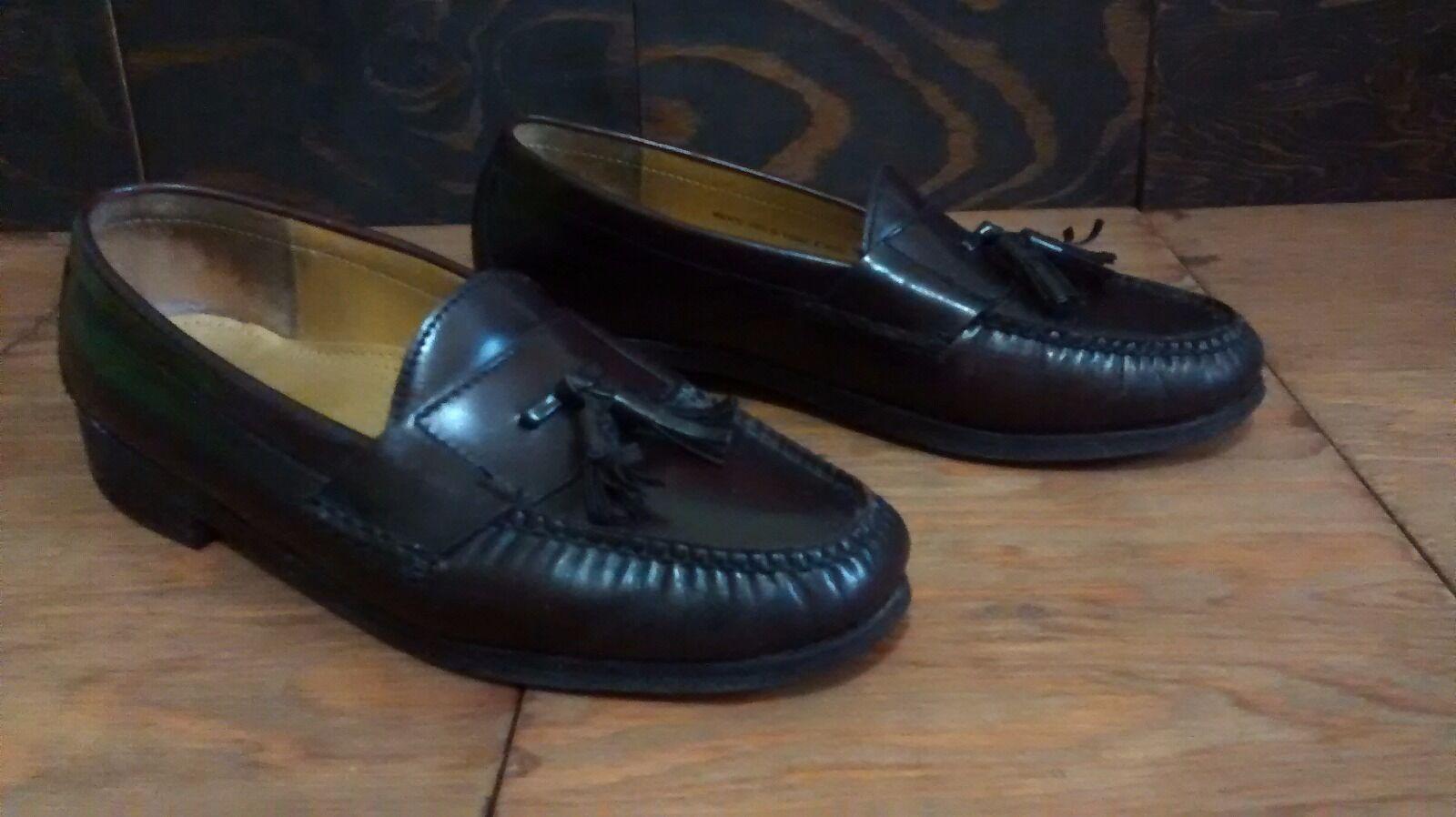 Vintage Cole Haan All Leather Tassel Moc Toe Loafers Burgundy Men's 10.5D