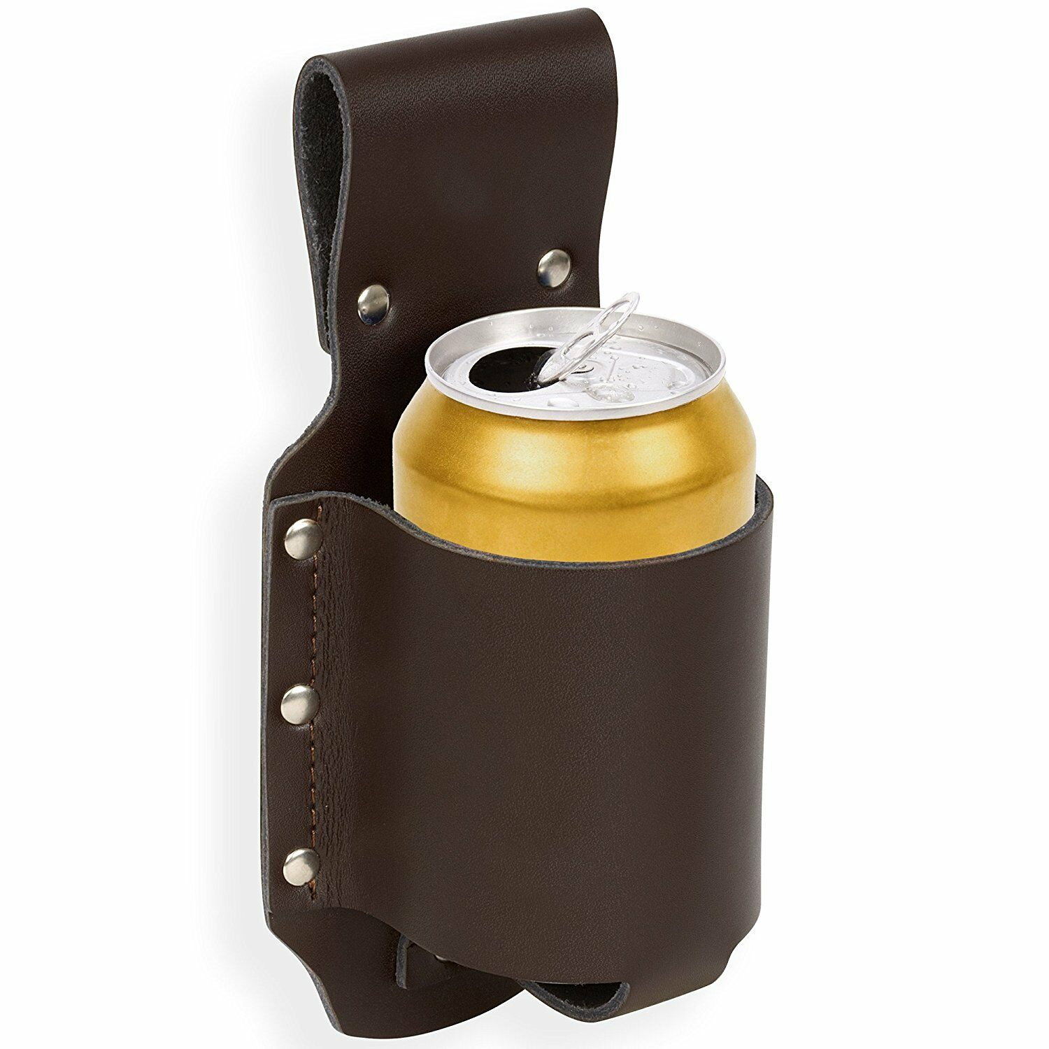 Western Brown Leather Can or Bottle Holder with Belt Loop