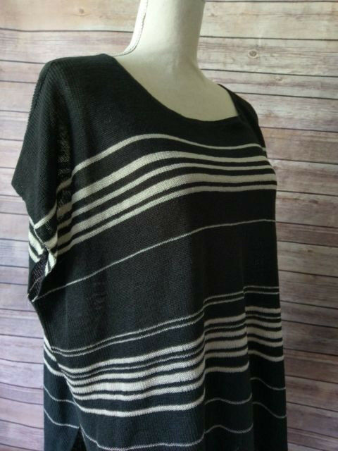 Eileen Fisher Graphite Fine Linen Crepe Knit Bateau Neck Poncho Style sz S