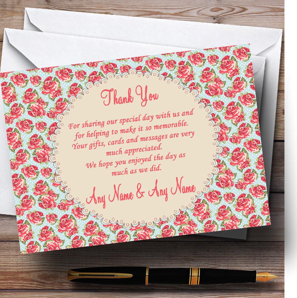 Bleu rose et rose Bleu corail floral mariage Personnalisé Cartes RemercieHommes t 24be59