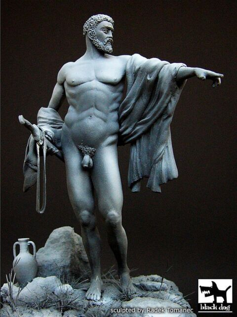 Black Dog 90mm Ancient Greek Warrior with Sword in Hand [Resin Figure] F90001