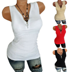 Womens-Zipper-V-Neck-Sleeveless-Tank-Tops-Vest-Slim-Fit-Summer-Blouse-Club-Cami